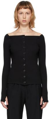 Kimhekim Black Jersey Off-The-Shoulder Cardigan