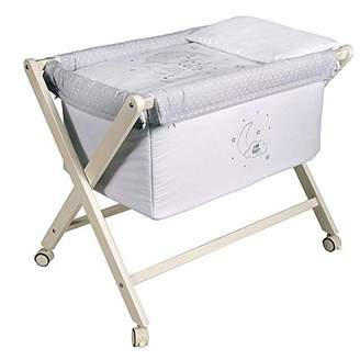 Camilla And Marc Night Mini Folding Crib with White Wooden Legs (50 x 80 cm)