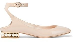 Nicholas Kirkwood Lola Faux Pearl-embellished Patent-leather Ballet Flats