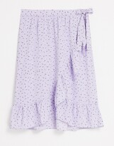 Thumbnail for your product : Monki Mary-lou wrap midi skirt in lilac floral print