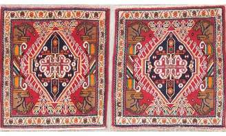 "Schick Bloomsbury Market One-of-a-Kind Tribal Persian 2 Piece Hand-Knotted 2' x 2'3"" Wool Red/Blue/Brown Area Rug Set Bloomsbury Market"