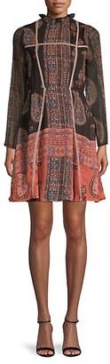 Raga Mockneck Paisley Mini Dress