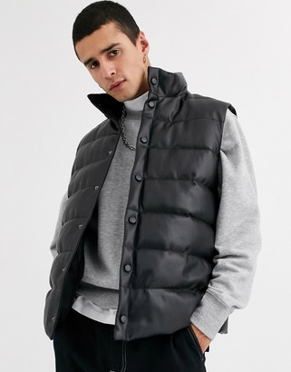 Asos DESIGN puffer gilet in black faux leather