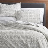 Crate & Barrel Taza Grey Duvet Cover and Pillow Shams