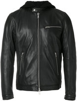 Dondup hooded leather jacket - men - Leather/Polyamide/Polyester/Wool - 48