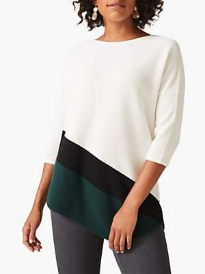 Phase Eight Caily Colour Block Jumper, Ivory/Green