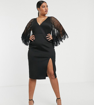 ASOS DESIGN Curve faux feather cape midi dress