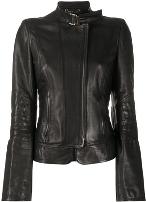 Gucci Pre Owned Band Collar Leather Jacket