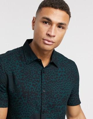New Look short sleeve leopard print shirt in teal