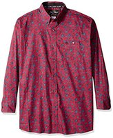 Wrangler Men's Big and Tall George Strait One Pocket Long Sleeve Burgundy Woven Shirt