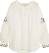 The Great Sonnet Embroidered Cotton Top - White