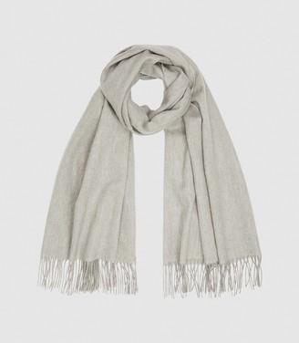 Reiss Jen - Wool Cashmere Blend Oversized Scarf in Grey