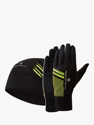 Ronhill Beanie & Glove Set, Black/Fluo Yellow