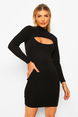 boohoo Textured High Neck Cut Out Mini Dress