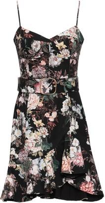 Nicholas Asymmetric Ruffled Floral-print Cotton-blend Mini Dress