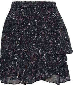 IRO Erie Wrap-effect Printed Chiffon Mini Skirt