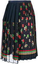 Sacai pleated floral wrap skirt