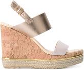 Hogan metallic wedge sandals