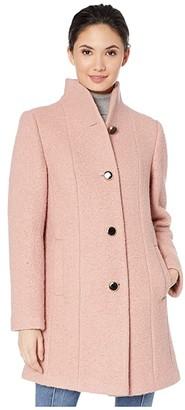 Kate Spade High Neck Long Line Coat (Soft Peony) Women's Clothing