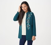 Denim & Co. French Terry Open Front Jacket with Embroidery