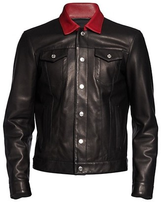 DSQUARED2 Contrast Collar Leather Trucker Jacket