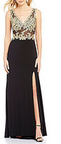 Blondie Nites Embroidered Illusion Bodice Long Dress