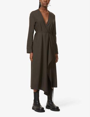 BITE Studios Tie-belt stretch-organic wool midi dress