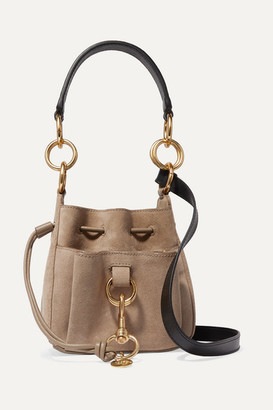 See by Chloe Tony Small Suede And Textured-leather Bucket Bag - Neutral