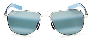 Maui Jim Unisex Guardrails Polarized Brow Bar Aviator Sunglasses, 58mm