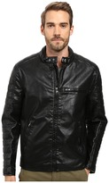 Andrew Marc Watkins Distressed Faux Leather Moto Jacket with Quilted Sleeves