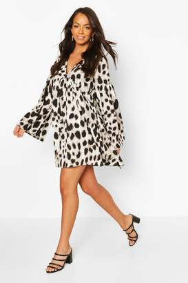 boohoo Woven Large Scale Leopard Smock Dress