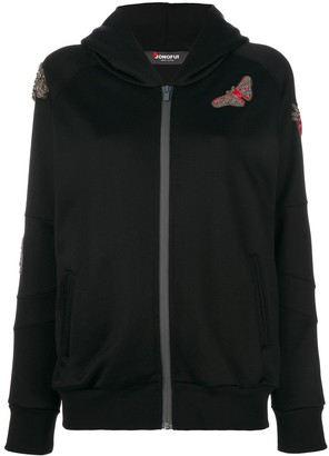 Jo No Fui embroidered hooded sweater