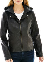 JCPenney A.N.A a.n.a Faux-Leather Hooded Scuba Jacket