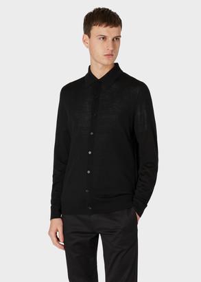 Paul Smith Men's Black Merino Wool Buttoned Long-Sleeve Polo Shirt