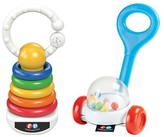 Fisher-Price Corn Popper Rattle & Rock-A-Stack Clacker Set - Multicolored