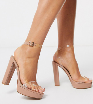 ASOS DESIGN Wide Fit Nutshell clear platform barely there heeled sandals