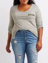 Charlotte Russe Plus Size Scoop Neck Zip-Pocket Tee
