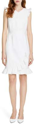 Tailored by Rebecca Taylor Ruffle Detail Cotton Blend Dress