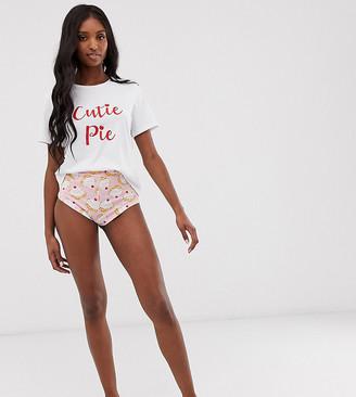 Asos Tall DESIGN Tall exclusive cutie pie pyjama hot pant set-Pink