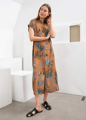 And other stories Tropical Print Midi Shirt Dress