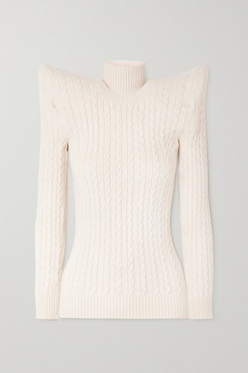 Balenciaga Cable Knit-effect Velvet Turtleneck Sweater - White