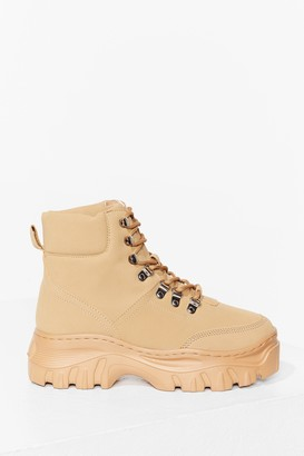 Nasty Gal Womens Good For the Sole Wide Fit Hiker Boots - Sand