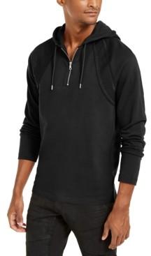 INC International Concepts Inc Men's Pieced Quarter-Zip Hoodie, Created for Macy's
