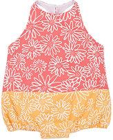 Isabel Garreton Daisy-Print Two-Tone Cotton Bodysuit