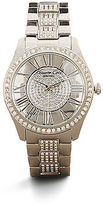 Kenneth Cole Silvertone Pave Rhinestone Stainless Steel Link Watch