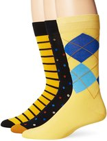 Tallia Men's Stripe Argyle Dot Crew Socks