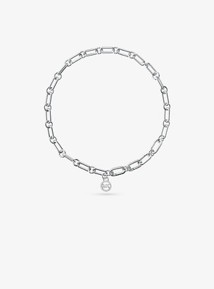 Michael Kors Precious Metal-Plated Sterling Silver Chain Link Starter Collar Necklace - Silver