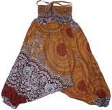Lofbaz Kids Harem Rose Flower Child Aladdin Pants Boho Hippy Brown Size 5/6 Years