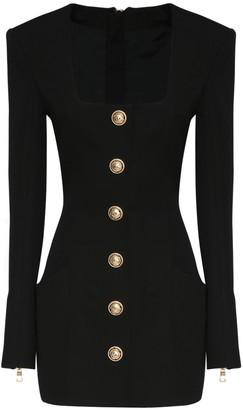 Balmain Buttoned Wool Grain De Poudre Mini Dress