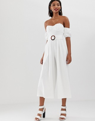 Asos Design DESIGN off shoulder jumpsuit with puff sleeve and buckle detail